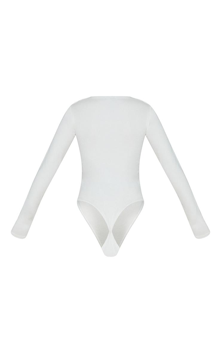 Cream Rib Arm Warmer Cut Out Detail Bodysuit 6