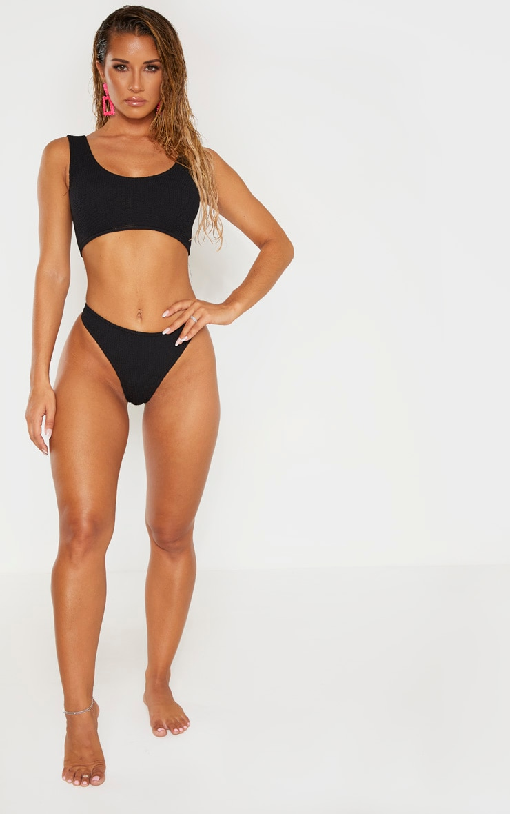 Black Crinkle Deep Scoop Bikini Top 4