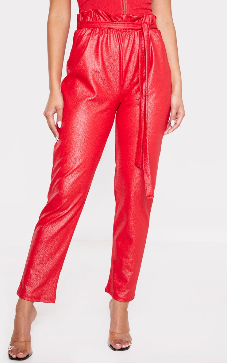 Red Coated Paperbag Waist Trouser 2