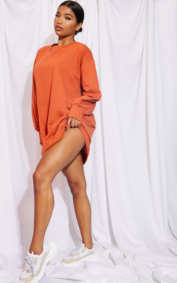 Burnt Orange Oversized Sweater Dress 3