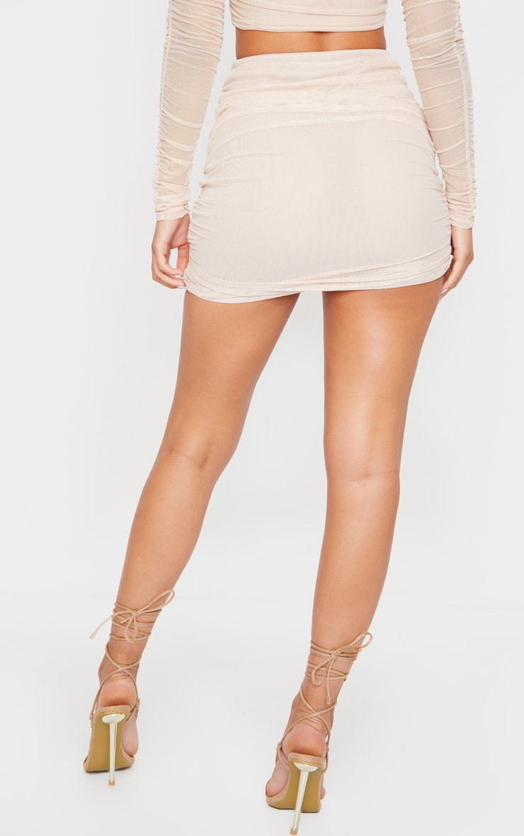 Nude Mesh Ruched Side Skirt 3