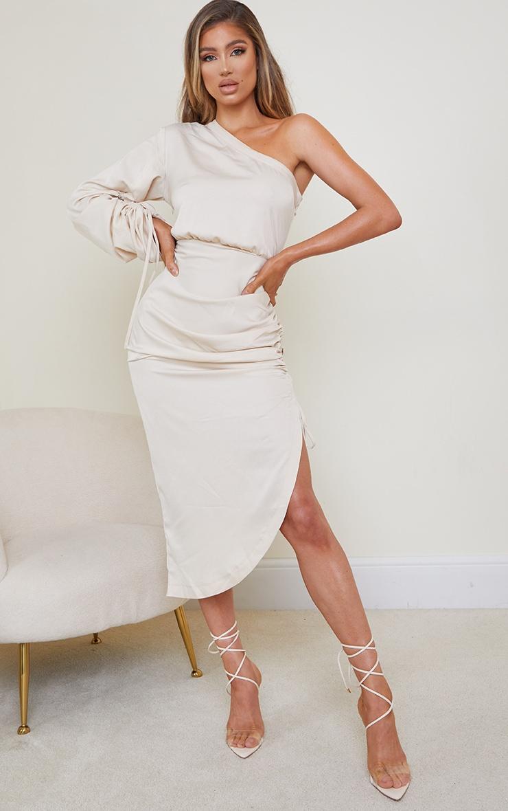 Stone Ruched Sleeve One Shoulder Midi Dress 1