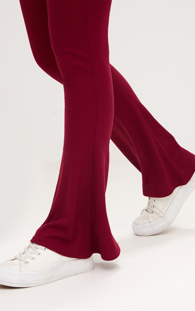 Burgundy Ribbed Flared Trousers 5