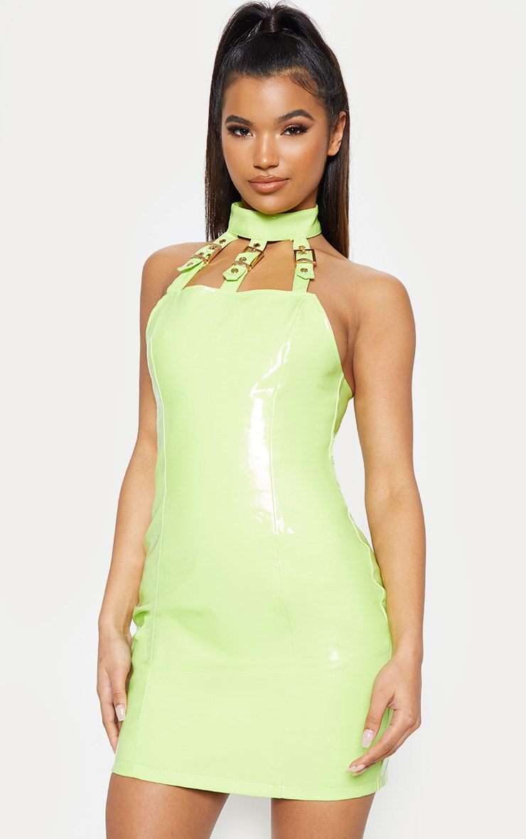 Neon Lime Vinyl Buckle Detail Bodycon Dress 1