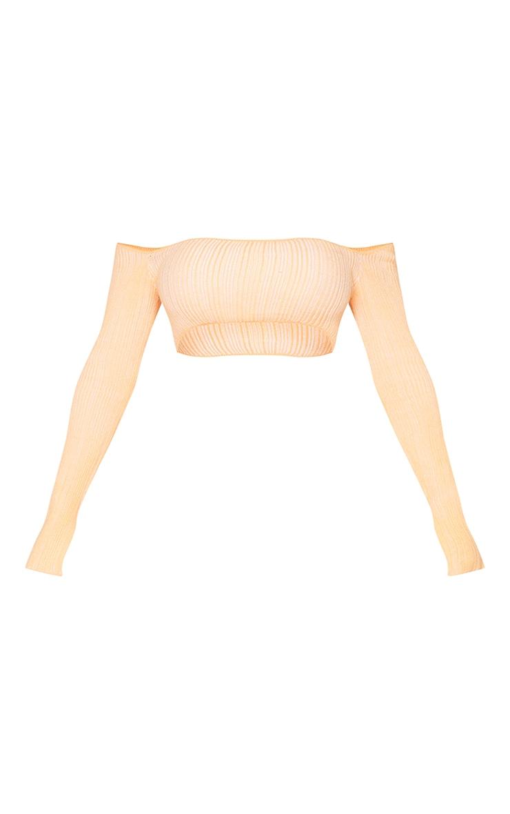 Shape Peach Contrast Knit Bardot Crop Top 5