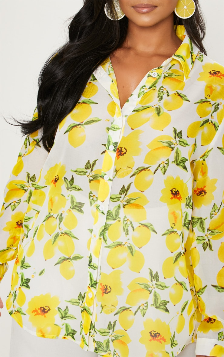 Plus Lemon Print Oversized Shirt  5