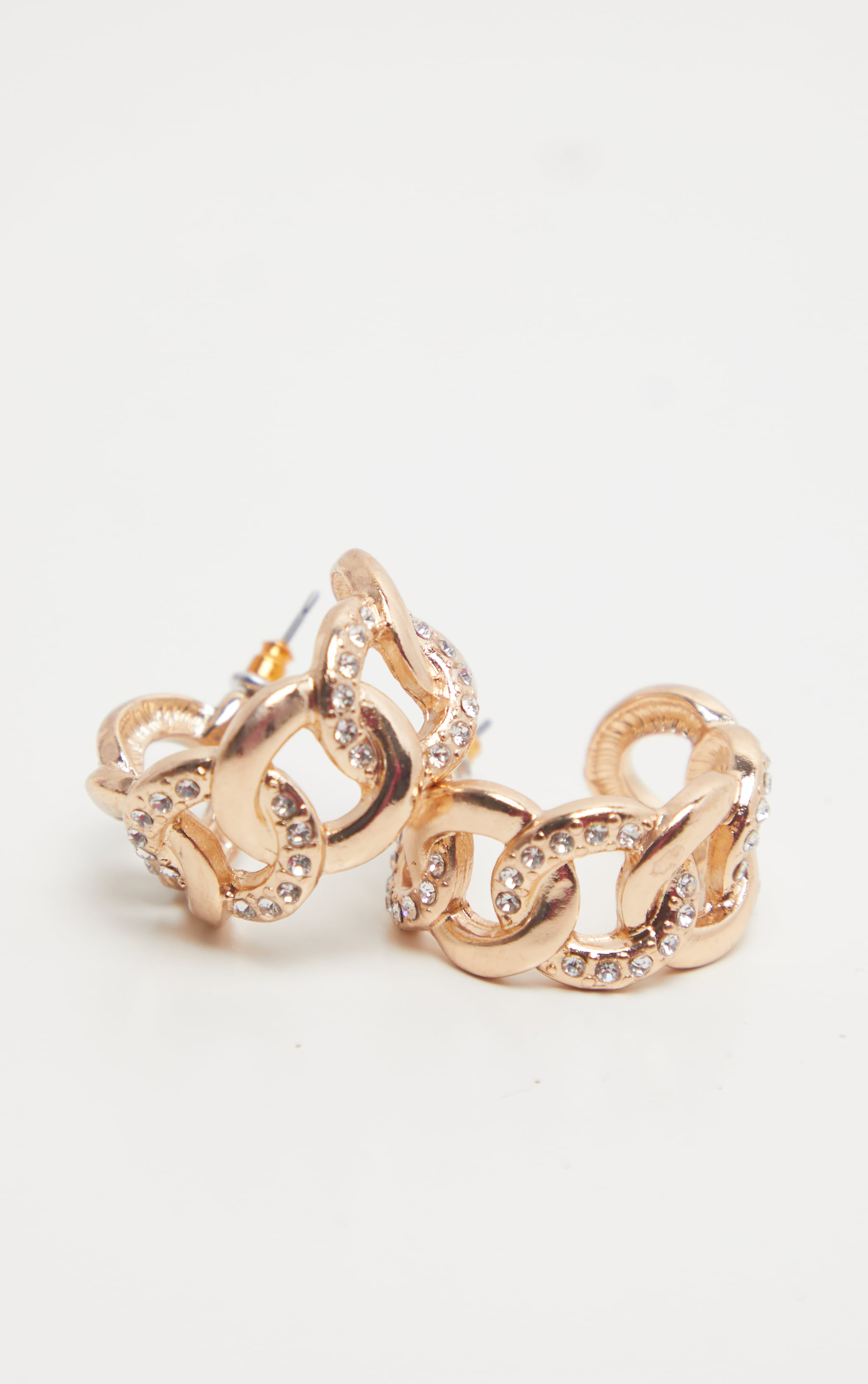 Gold Chunky Diamante Chain Small Hoop Earrings 3
