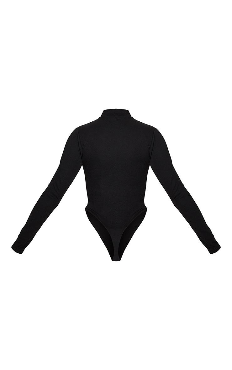 Black Cut Out Detail Crepe Bodysuit 4