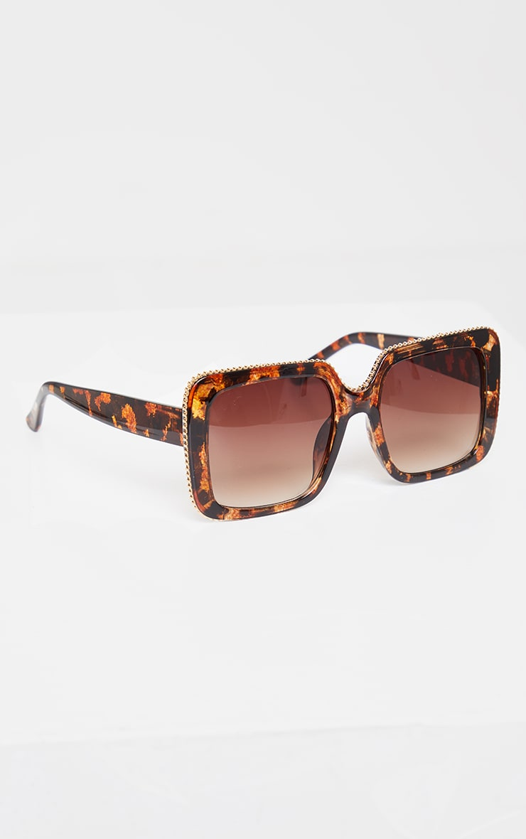 Brown Tortoise Oversized Square Cut Out Edge Sunglasses 4