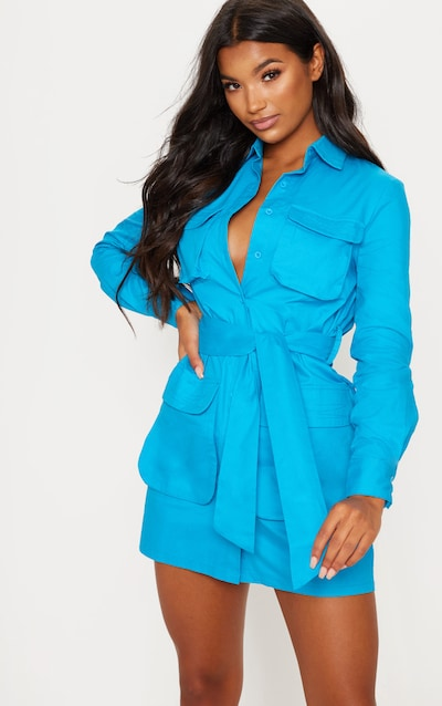 39a6e92e91 Blue Utility Tie Waist Shirt Dress