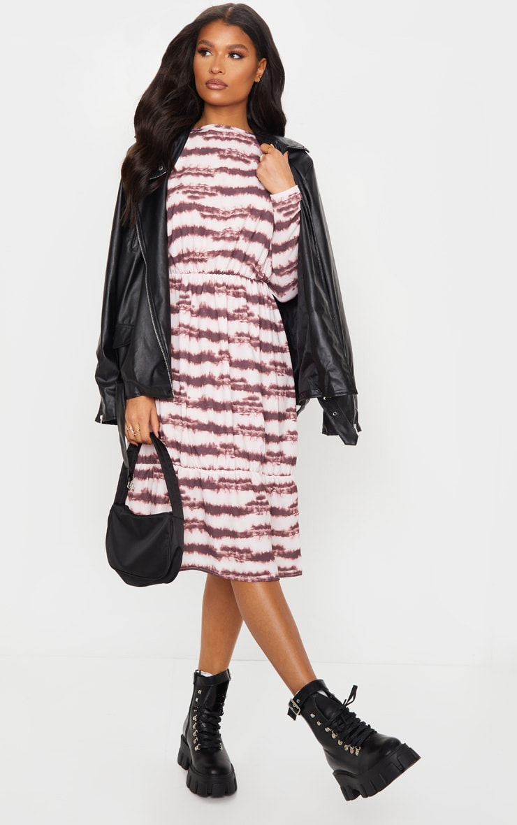 Pink Marble Print Crepe Long Sleeve Tiered Midi Dress 1