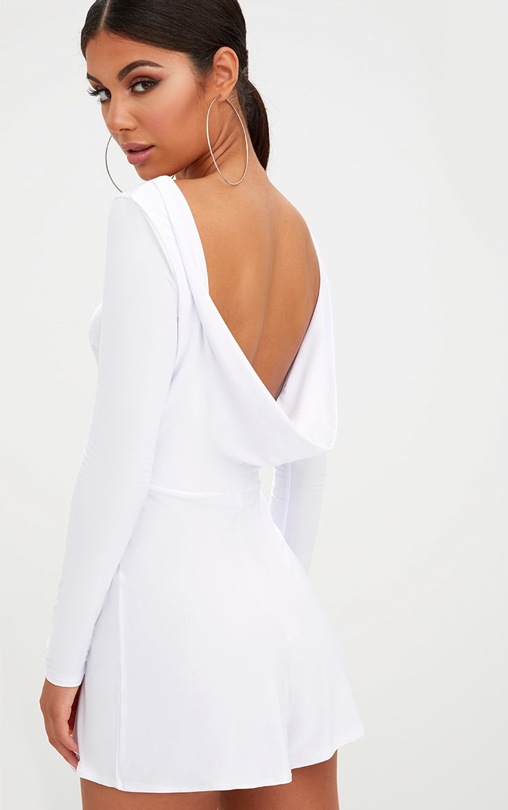 White Cowl Back Playsuit 1