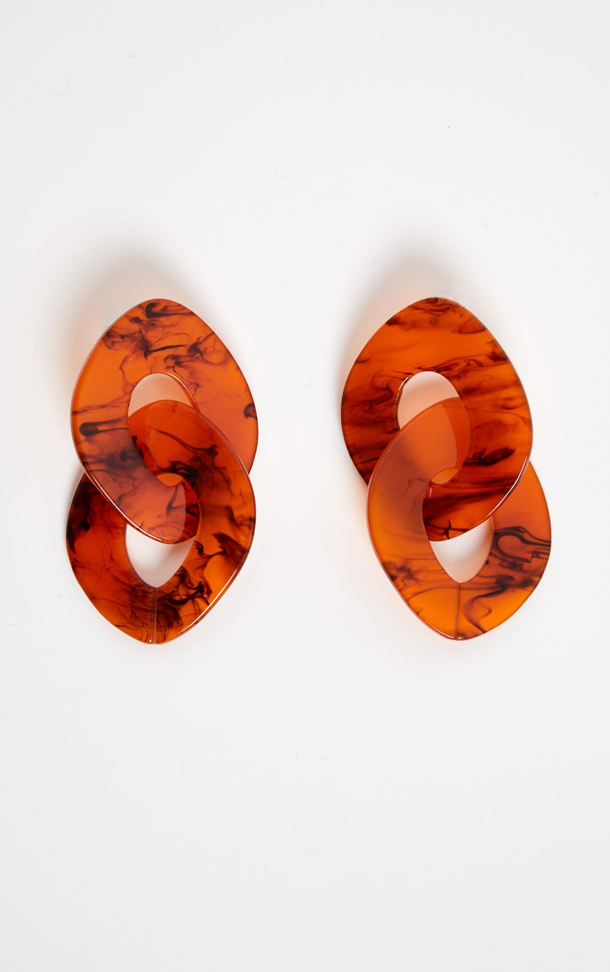 Boucles d'oreilles chunky à pendants marron 2