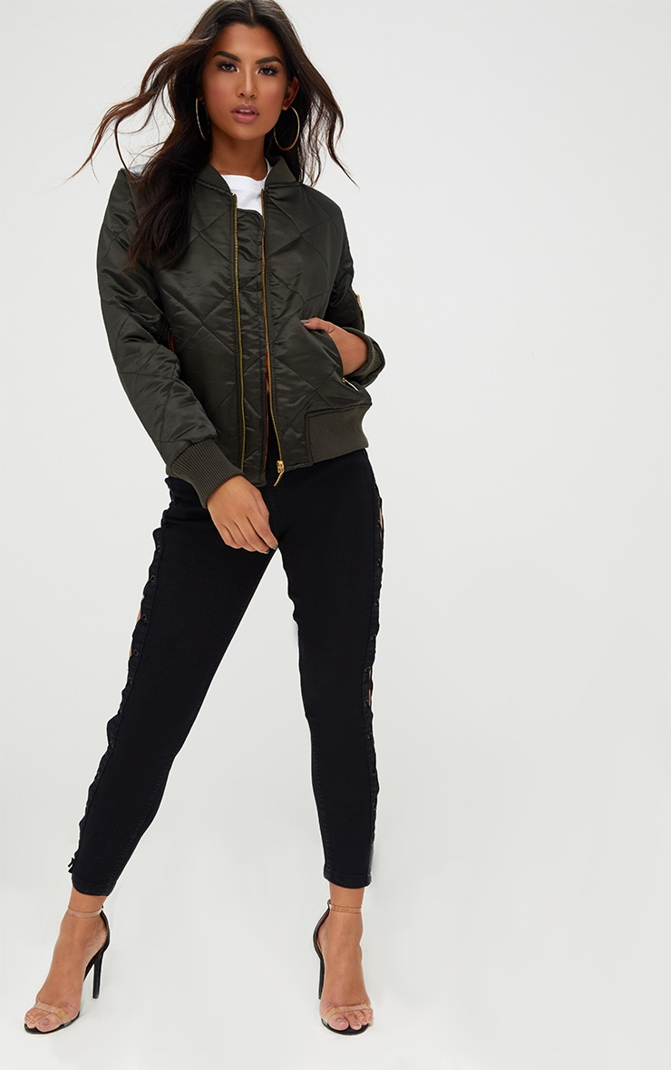 Khaki Satin Quilted Bomber Jacket 4