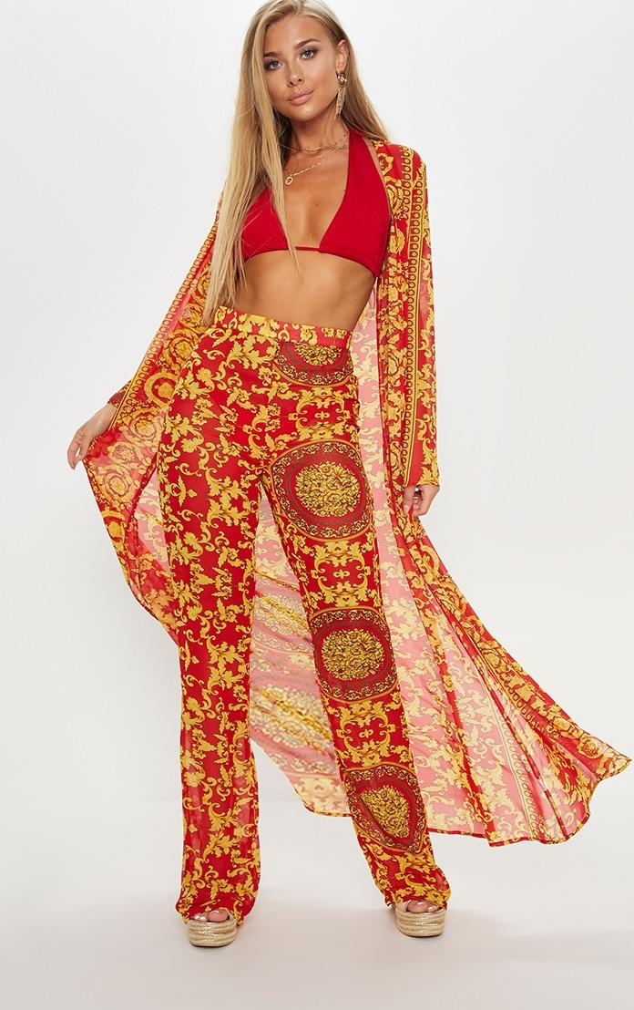 Red Chain Print Beach Kimono 1