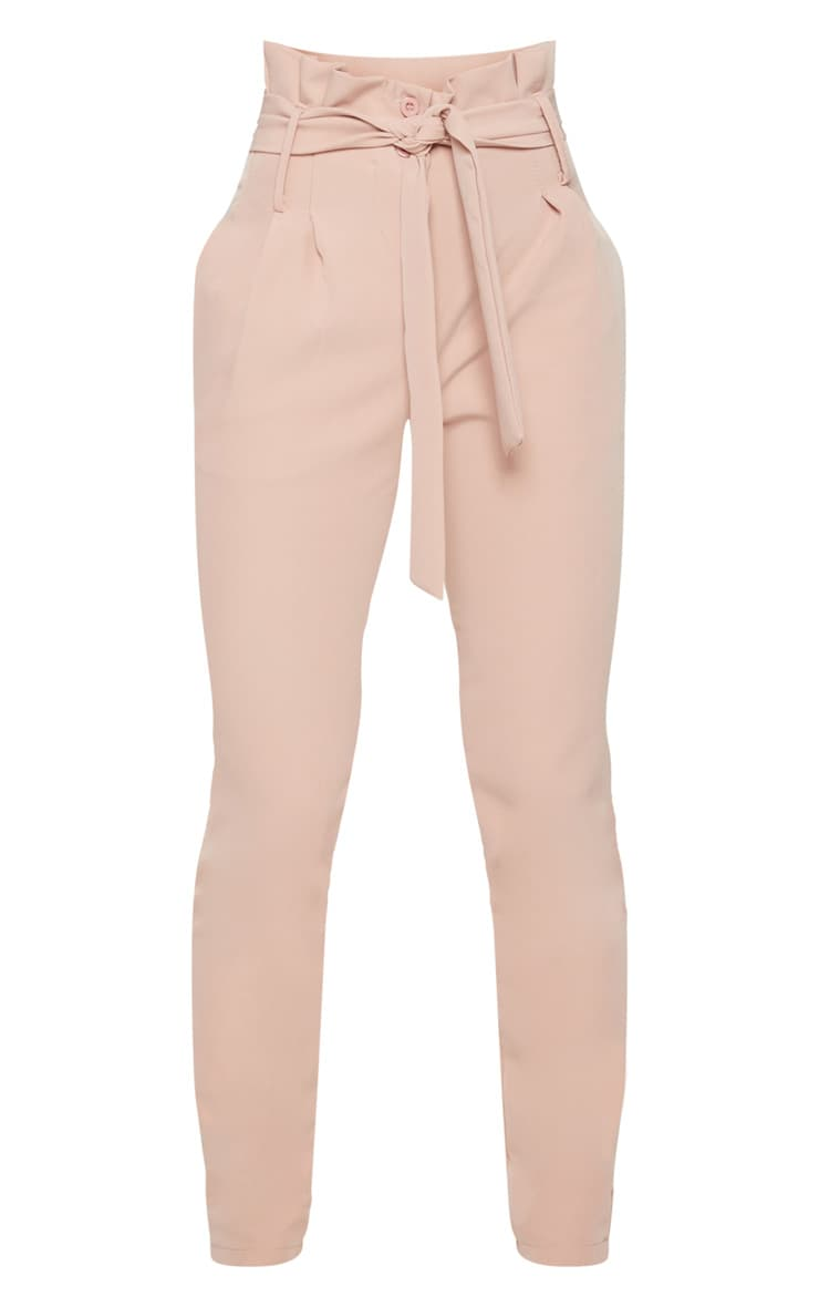 Petite Blush Paperbag Waist Trousers 3