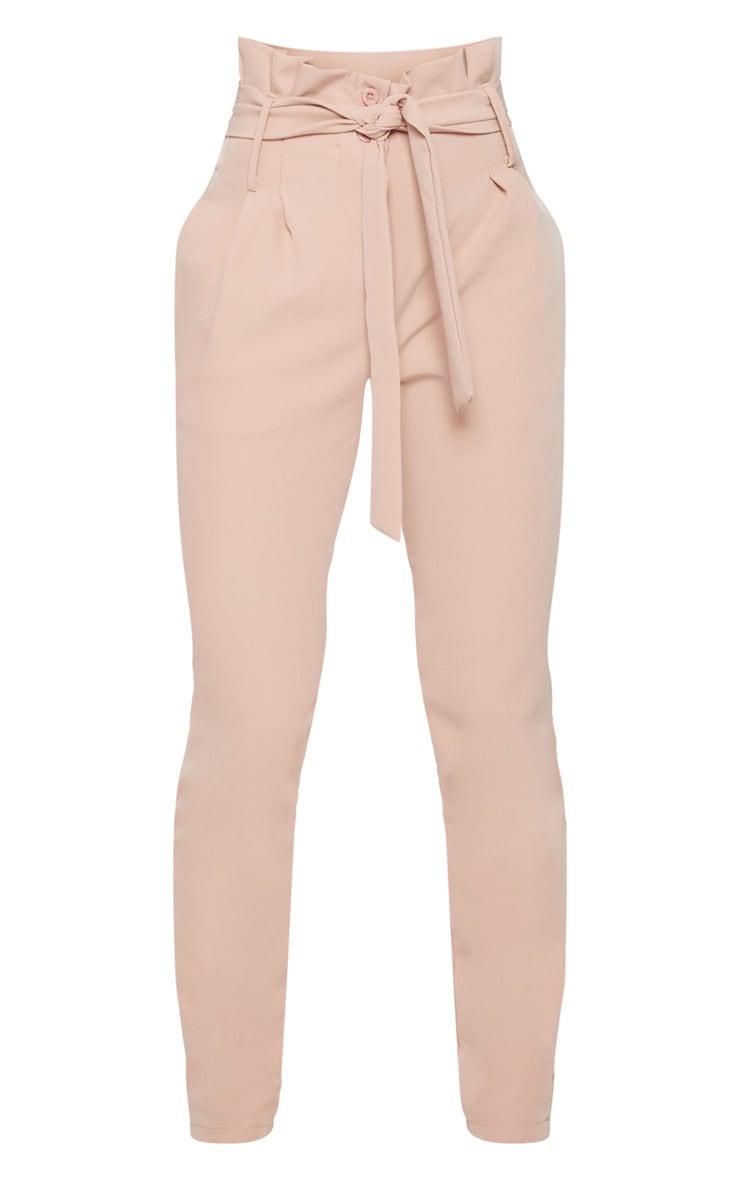 Petite Blush Paperbag Waist Trousers 3