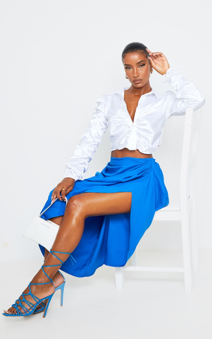 White Satin Ruched Cropped Shirt 3
