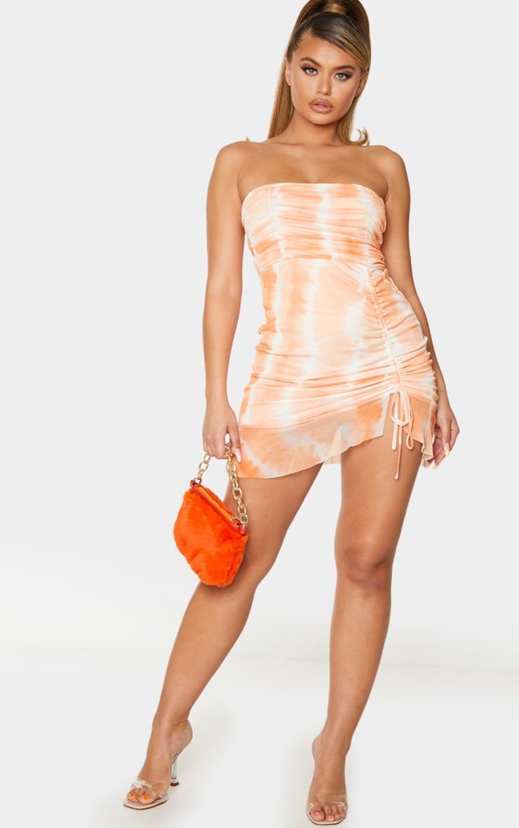 Robe moulante bandeau en mesh froncé tie & dye orange à volants 3