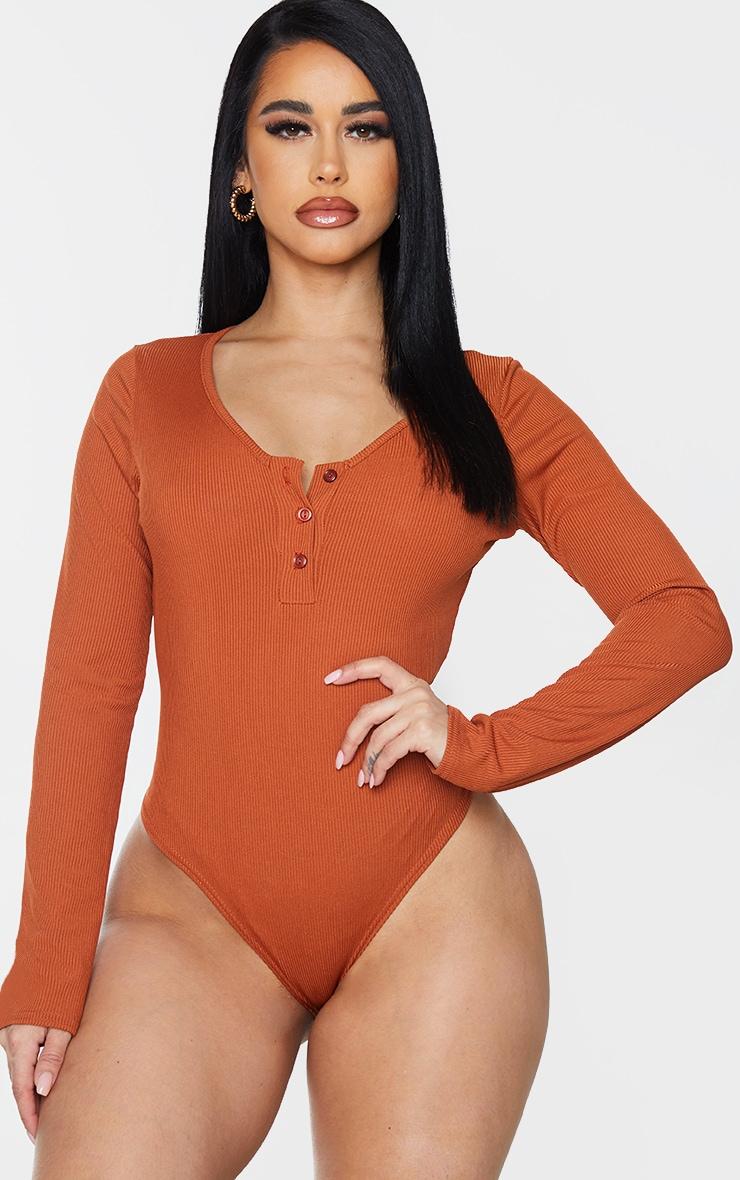 Shape Rust Ribbed Long Sleeve Bodysuit 2