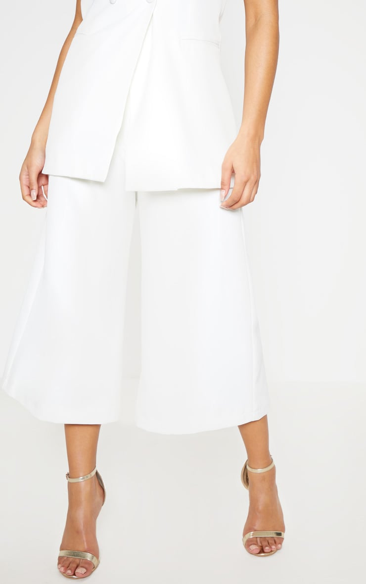 White High Waisted Culottes 3