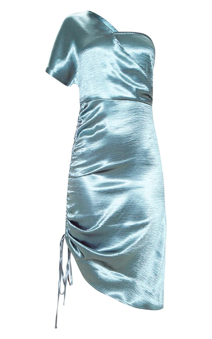Teal One Shoulder Ruched Side Satin Midi Dress 3