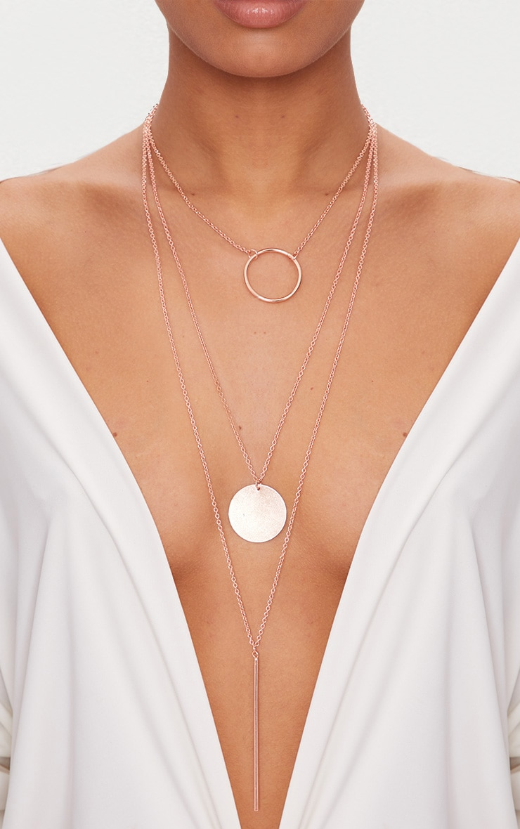 Rose Gold Layered Disk Plunge Necklace  1
