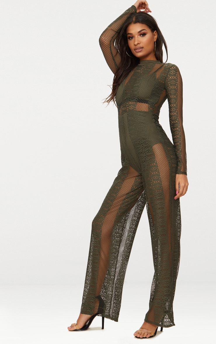 Khaki Lace High Neck Bra Insert Jumpsuit 4