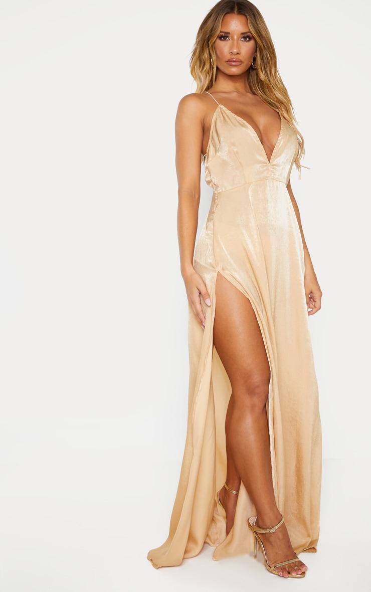 Nude Extreme Split Strappy Back Maxi Dress 1