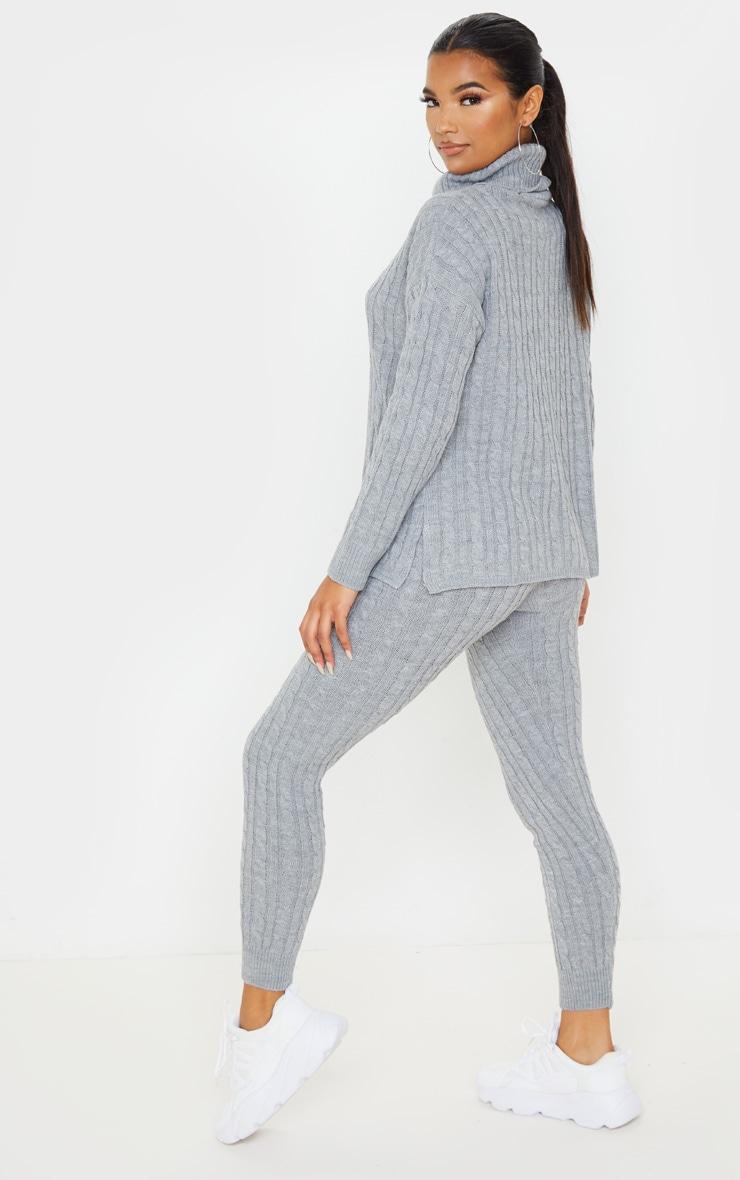 Ensemble pull à col roulé & legging en grosse maille grise 2