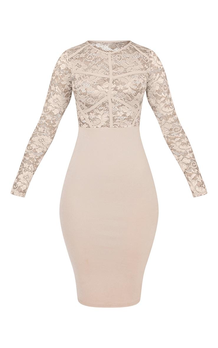 Aspen Nude sheer Lace Contrast Midi Dress 3