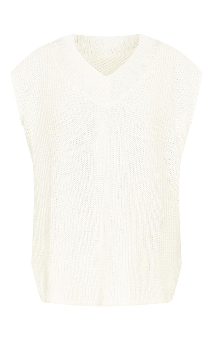 Petite Cream V Neck Knitted Side Split Vest 5