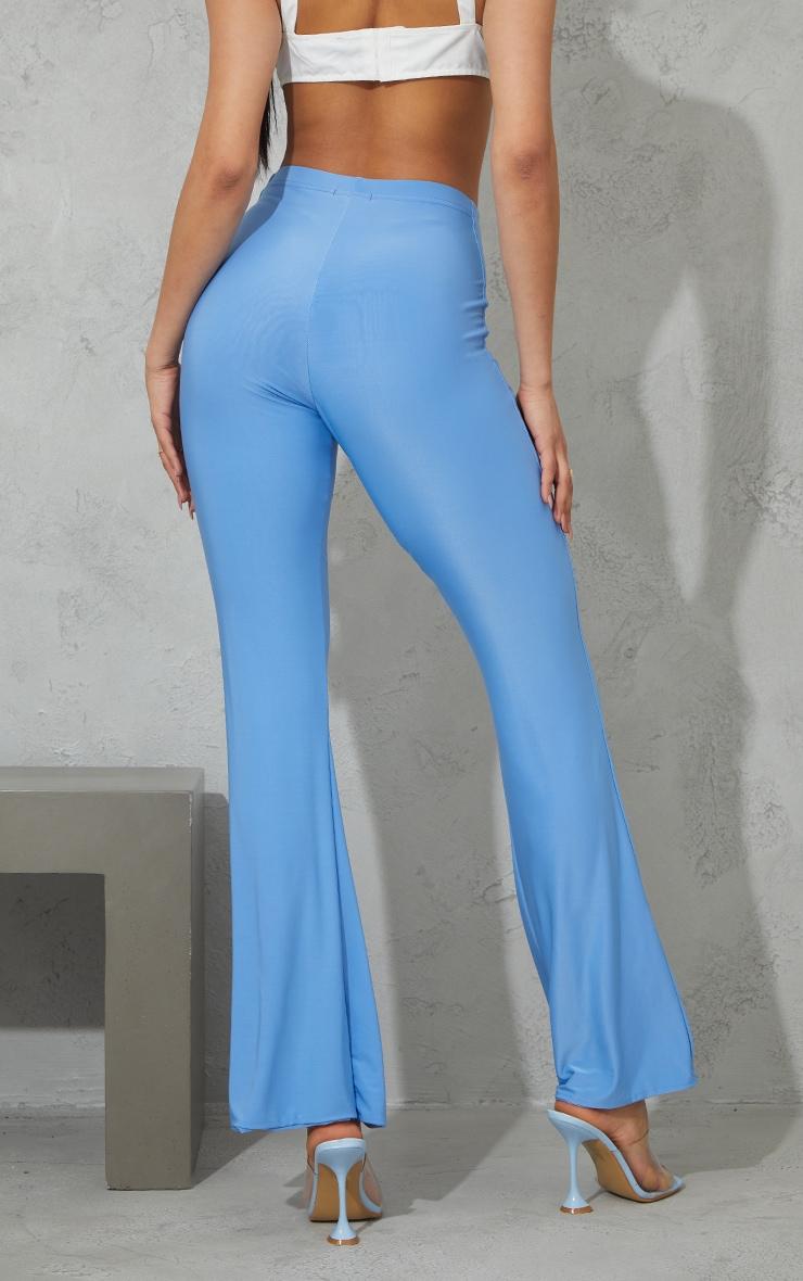 Blue Slinky Keyhole Flared Trousers 3