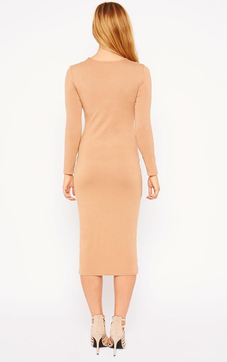 Kenna Camel Knot Front Midi Dress 2