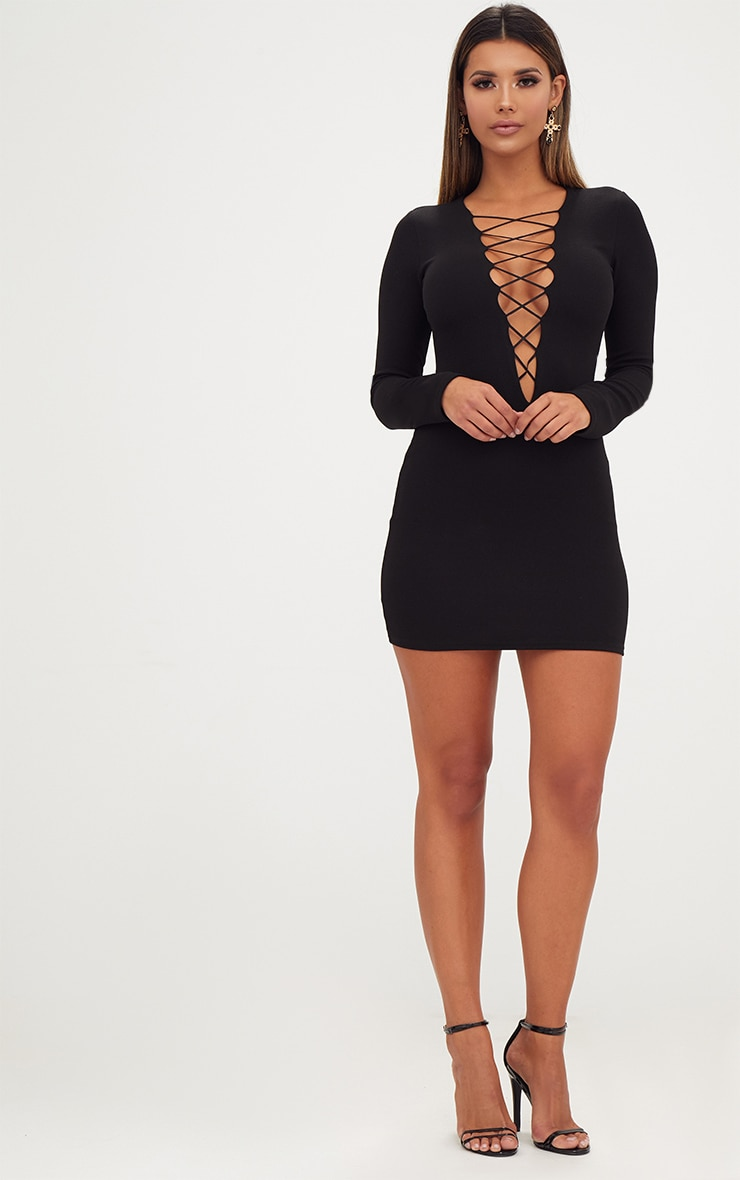 Black Extreme Plunge Lace Up Bodycon Dress 4