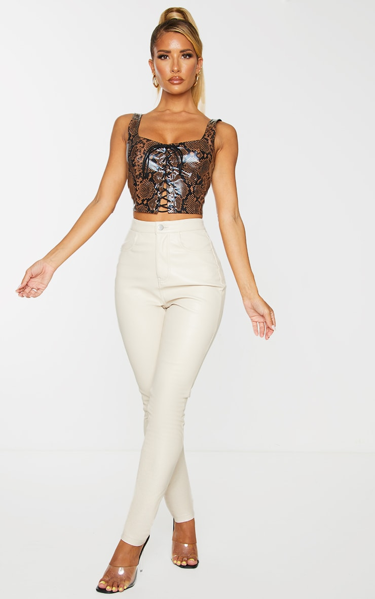 Brown PU Snake Print Lace Front Crop Top 3