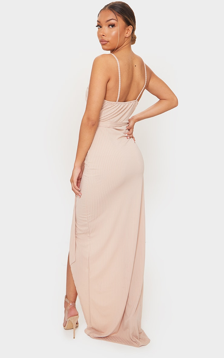 Stone Ribbed Wrap Maxi Dress 2