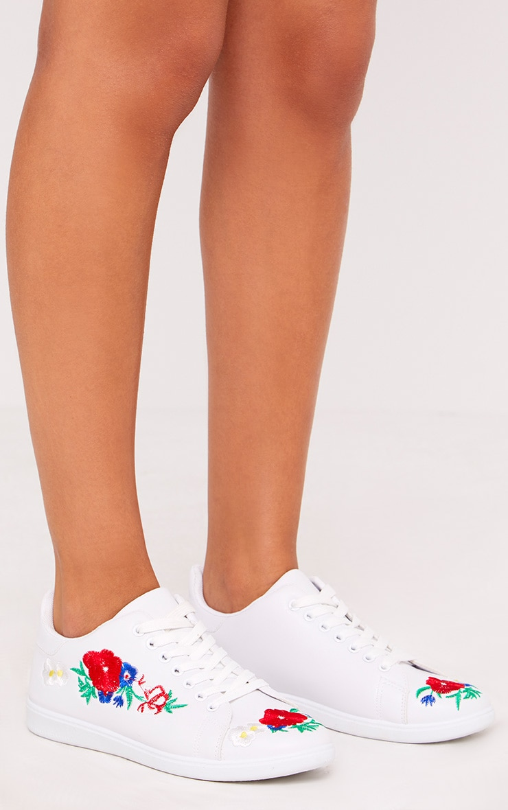 Hanna White Floral Embroidered Trainers 2