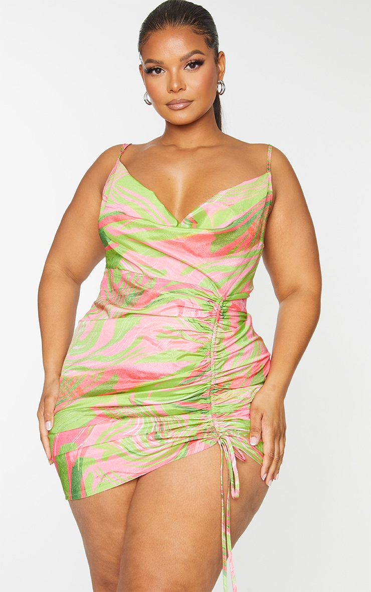 Plus Pink Abstract Cowl Ruched Front Bodycon Dress 3