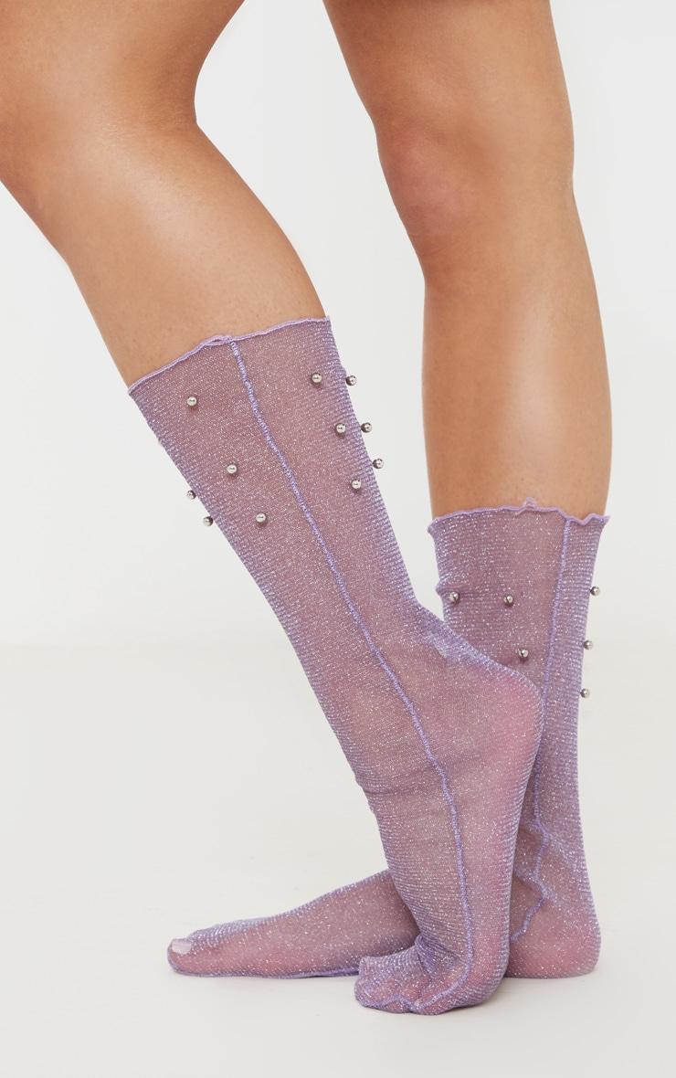 Lilac Pearl Socks 2