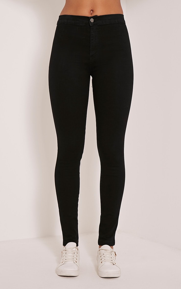 Black Mid Rise Skinny Jeans 2