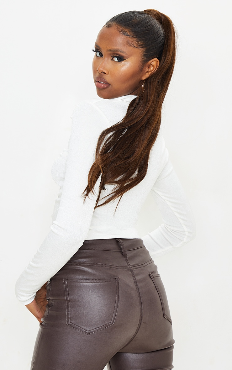 White Acetate Slinky Ruched Front Shirt 2