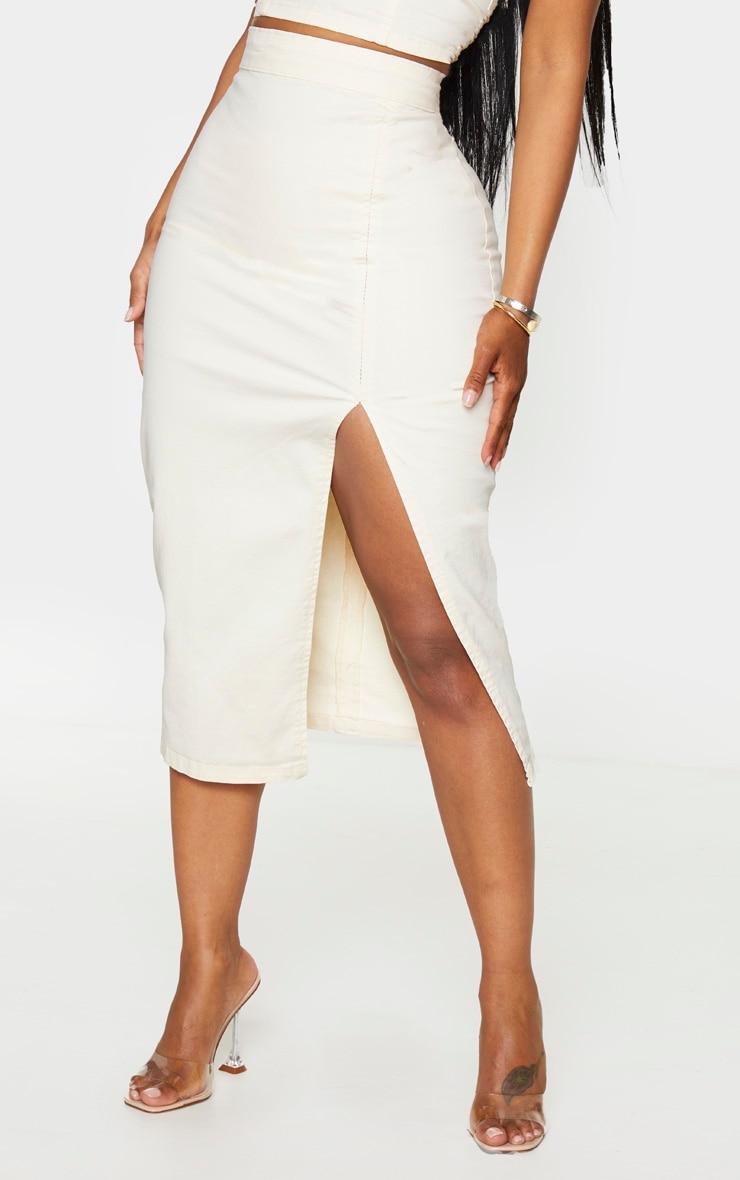 Shape Ecru Denim Split Front Midi Skirt 3