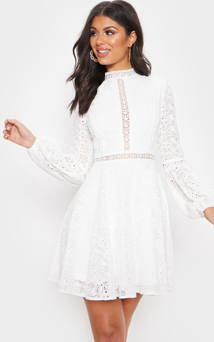 White Lace Long Sleeve Skater Dress 4