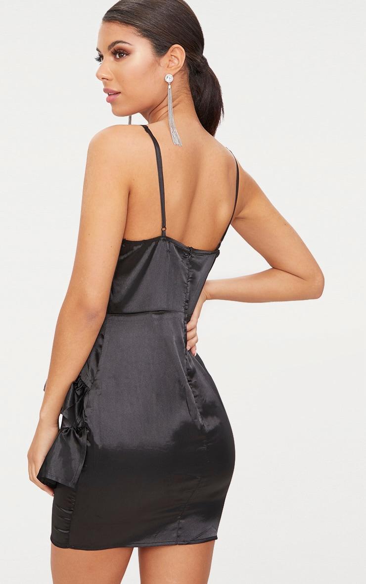 Black Plunge Frill Detail Satin Bodycon Dress 2