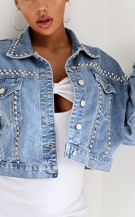 Light Blue Wash Studded Oversized Denim Jacket 4