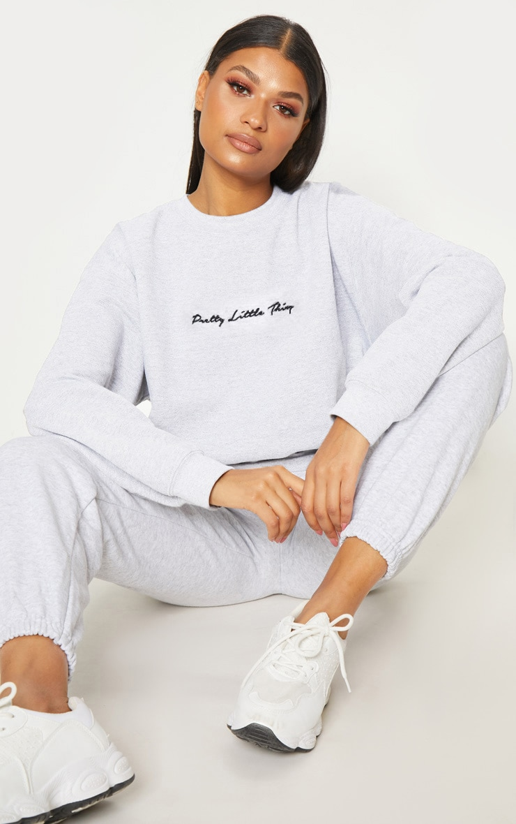 PRETTYLITTLETHING Ash Grey Embroidered Sweater  1