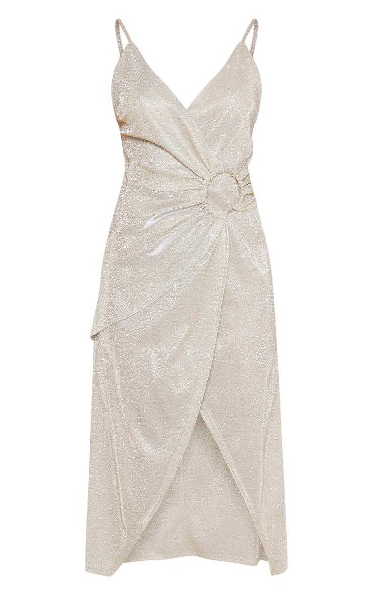 Silver Glitter Ring Detail Wrap Midi Dress 3