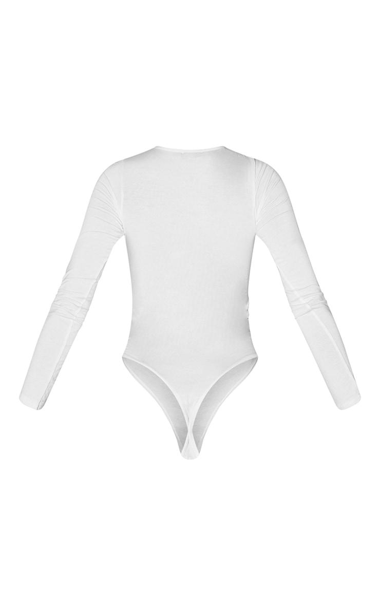 Tall White Basic Crew Neck Long Sleeve Bodysuit 6