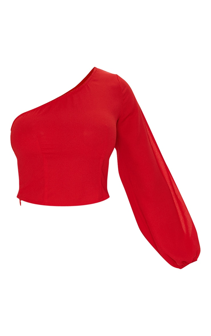 Red One Shoulder Blouse 3